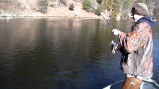 Muskegon river Steelhead fishing By Brandon ralston/with brandon ralston/Camera Dies but land fish