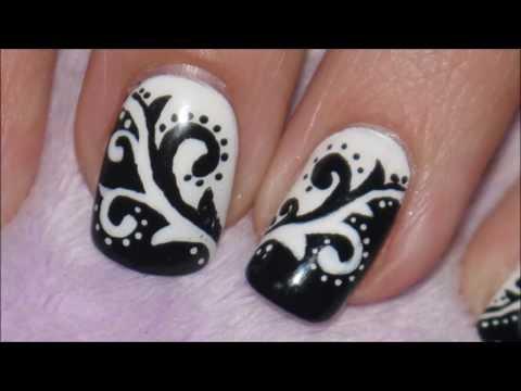 Black & White Arabesque Nail Art