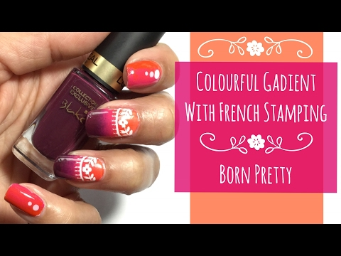 Gradient with French Stamping    BPX-L005 #36242 Review/Mani    Born Pretty 10% Discount - MANHX31