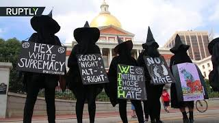 Witches Bitches Cunts Against White Sharia Gracefully Cover Ugly Old Mugs In Boston