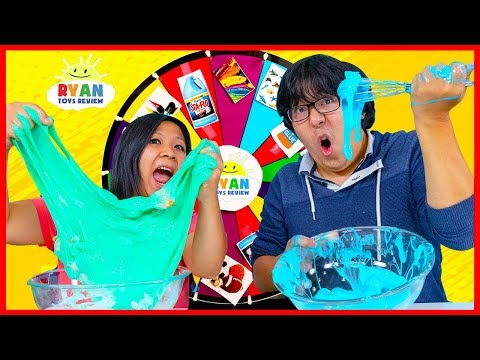 Mystery Wheel of Slime Challenge Ryan's Mommy vs Ryan's Daddy!
