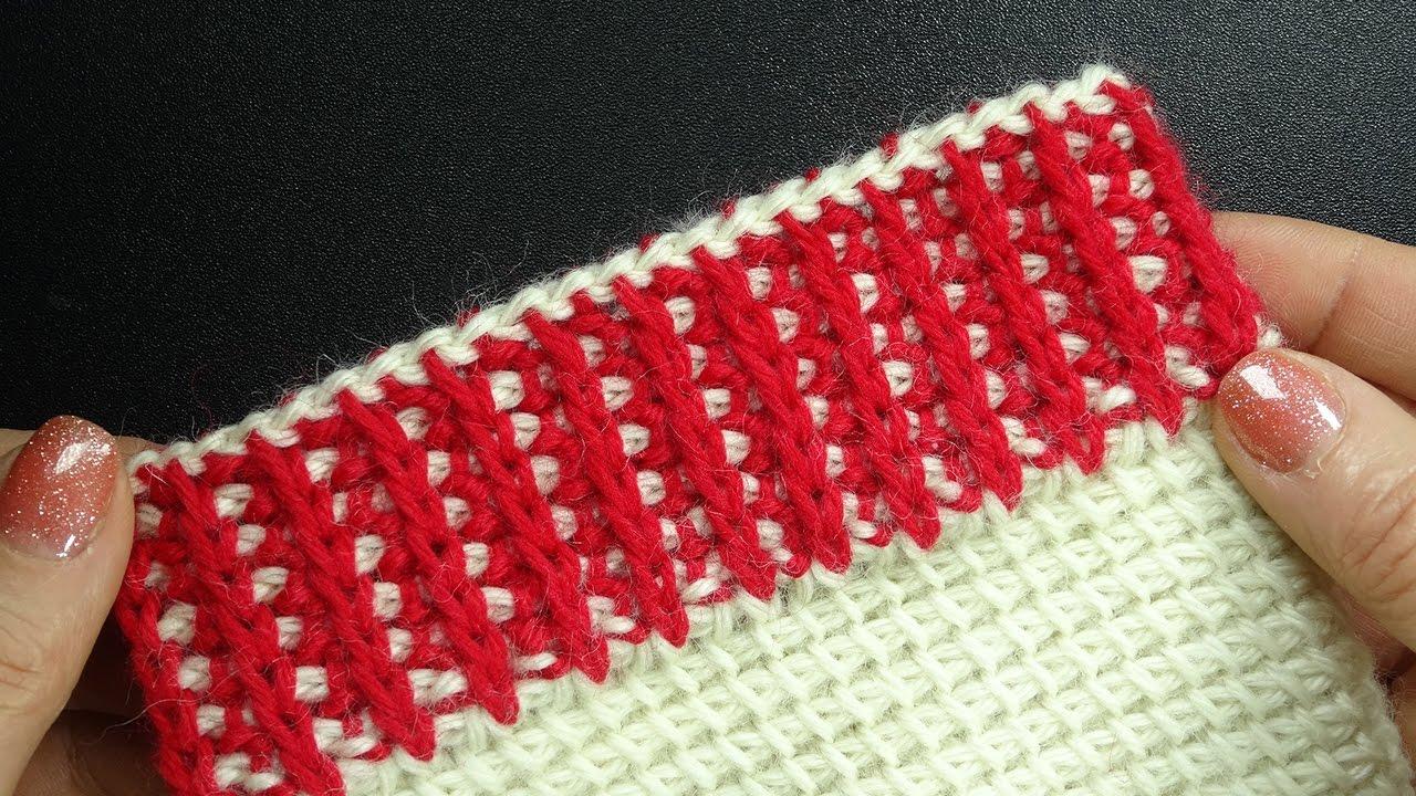 Вязание тунисское резинка 63