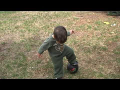 Funny Football Soccer Video 2 year Old Baby Skills Goal Dance Fútbol Dos Años