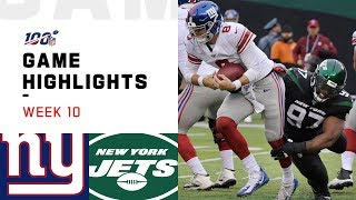 Giants vs. Jets Week 10 Highlights | NFL 2019