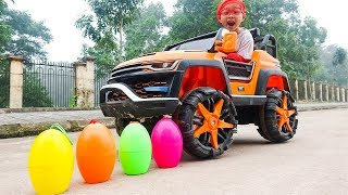 Dave Mario and brother Pretend Play Finding Eggs Toy with Power Wheels Car for Kids