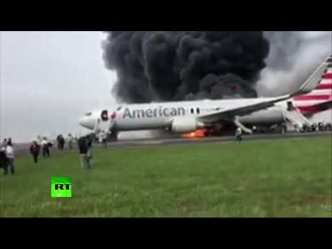 170 people evacuated after plane catches fire at Chicago airport