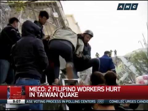 MECO: 2 Filipino workers hurt in Taiwan quake