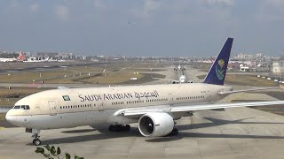 Saudia | Boeing 777-200 | Landing,Taxi,Take-off | Mumbai Airport