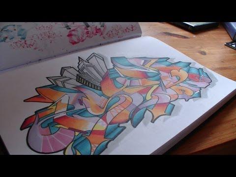 Sketchbook graffiti speed drawing sur papier // Blackbook piece «PSYM one» HD 1080