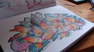 "Wildstyle graffiti speed drawing sur papier // Blackbook piece ""PSYM one"" [HD 1080]"