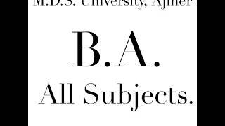 B.A. (All Subject List) - M.D.S. University, Ajmer