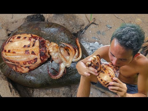 Primitive Technology: Cooking Big Octopus on the Rock Eating Delicious thumbnail