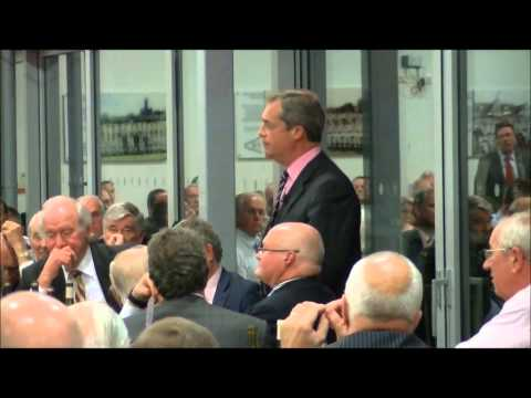 1st December 2014: Nigel Farage MEP addressed an audience at a fundraiser for UKIP Redditch at the Graham Hick Pavilion, Worcs County Cricket Club. Nigel gav...
