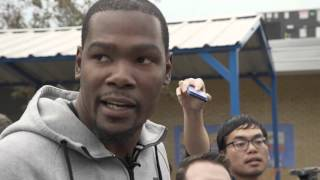Kevin Durant unveils basketball court at North Highland Elementary