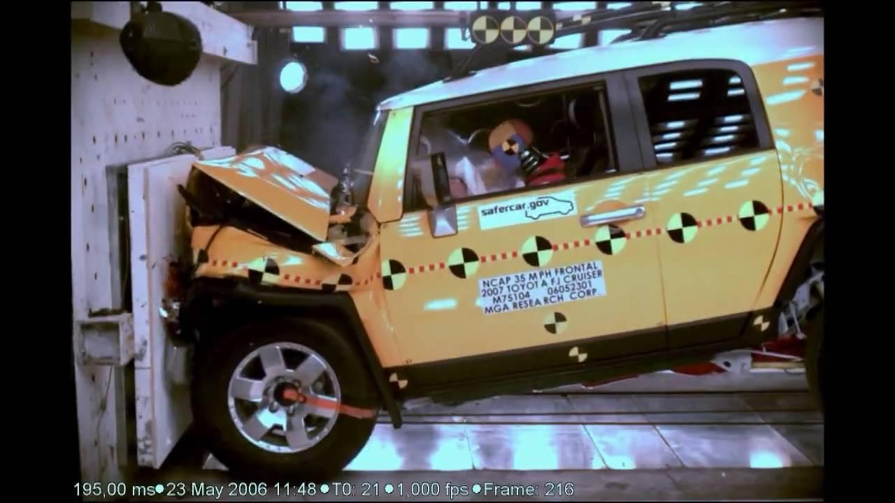 2007 toyota fj cruiser nhtsa frontal impact youtube