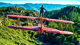 Wing Walker Jumps from Airplane - Wing Walking Stunts in 4K!