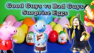 Opening Good Guys vs Bad Guys Surprise Eggs and Toys with the Assistant