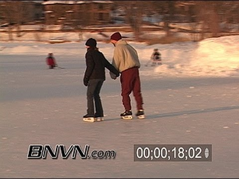 2/15/2004 People ice skating stock video