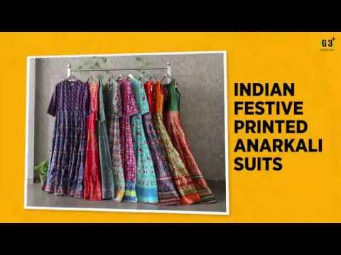 Indian Festival Trends - Printed Anarkali Suit Designs 2018