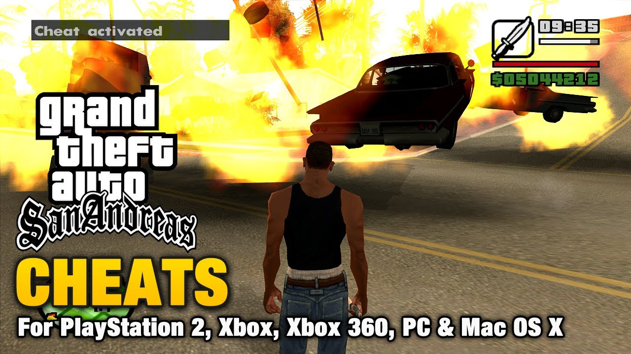 Grand Theft Auto SanAndreas Cheats For XBox and Playstation 2