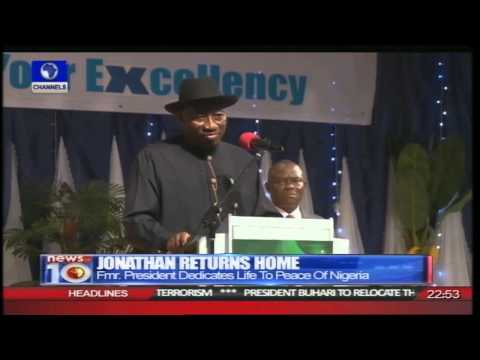 News@10: Well Wishers Welcome Goodluck Jonathan Back Home