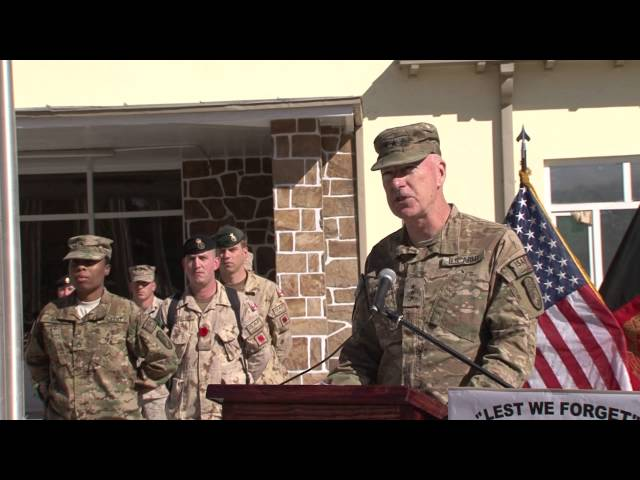 NTM-A Commander delivers Remembrance Day (Veteran's Day) remarks in Afghanistan