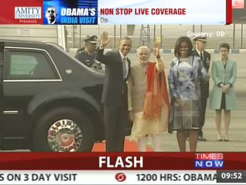 Narendra Modi greets Barack Obama and First lady