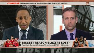 First Take warriors vs blazers game 2  with Steph A Smith and Max Kellerman Debate
