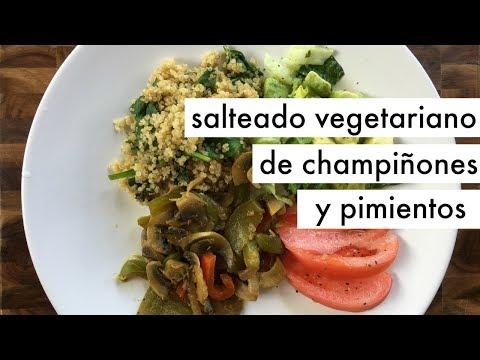 Champiñones salteados con pimientos | Recetas vegetarianas económicas y rápidas