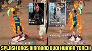 DIAMOND KLAY THOMPSON & CURRY DUO! HUMAN TORCH! NBA 2K18 MYTEAM GAMEPLAY