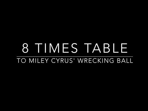 8 times table set to Miley Cyrus Wrecking Ball