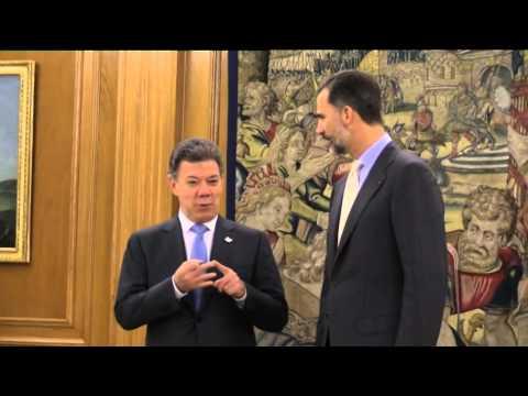 Juan Manuel Santos almuerza con S.M. el Rey Felipe  en el marco de su gira europea