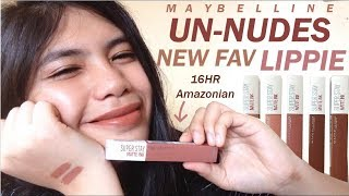 Ang gandaa! 16-hour Maybelline SuperStay Unnudes | Amazonian Swatch/Review/Demo/Comparison | Ph