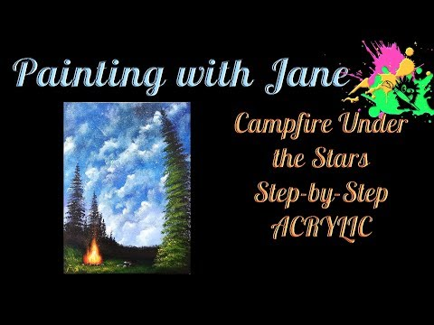 Campfire Under the Stars Step by Step Acrylic Painting Tutorial for Beginners
