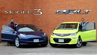 Tesla Model 3 vs Chevrolet Bolt // Electric Face-Off