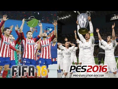 FIFA 16 vs PES 2016 UEFA CHAMPIONS LEAGUE FINAL Real Madrid vs Atletico de Madrid