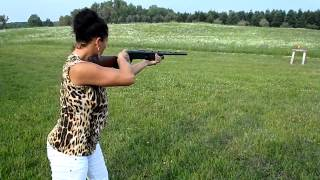 Chicks can shoot a Browning 12 gage Shotgun