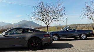 Porsche meets Hart-to-Hart Mercedes SL