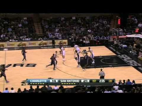 Manu Ginobili Fancy Assist | Bobcats vs Spurs  | NBA 2012-13 Season 30/01/2013