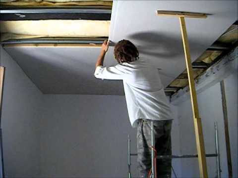 How to put a plasterboard ceiling up on your own at height youtube - How put cement foundations ceilings ...