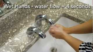 Water efficient method of hand washing