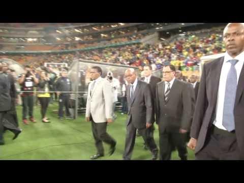 President Jacob Zuma attends Brazil vs South Africa match
