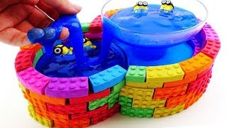 Learn Colors Kinetic Sand Swimming Pool for Minions toys with Wheels on the bus song for kids