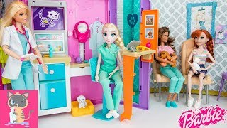 Barbie Pet Shop Toy Playset with Nurse Elsa Doll & Barbie Doctor - Vet Pet Care for Dogs Cats Animal