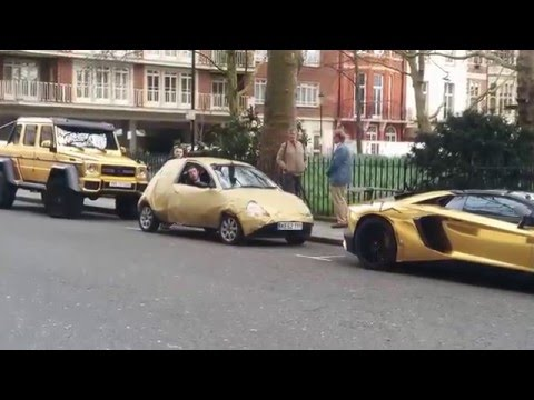 Gold G63! Fake Gold Ford KA parking between Gold Lamborghini Aventador and G63 6x6. Must see!!! HAHA