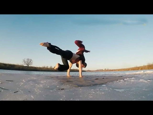 Russian gymnasts floating on ice goes viral