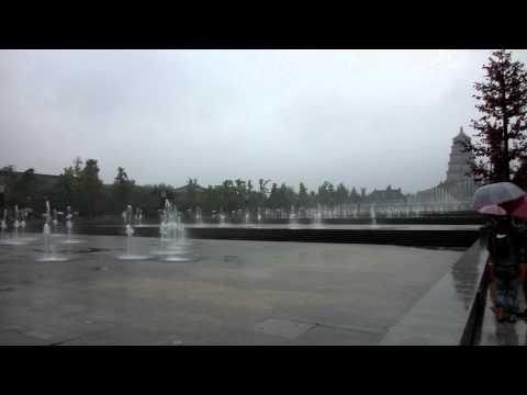 Xian, Musical Fountain near the Big Wild Goose Pagoda