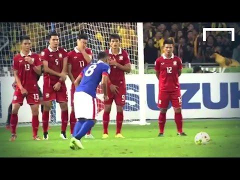 Great free kick from Malaysia's Rahim