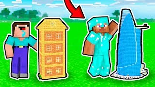 WHY NOOB Build This GIANT SKYSCRAPER HOUSE In One BLOCK?