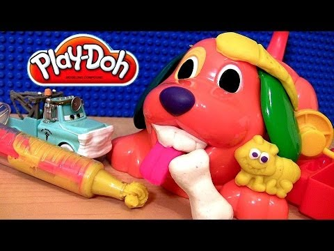 Play Doh Doggy Doctor Playset With Cars Dr. Mater Vet Dentist Play Dough Puppy Set Disney Pixar toys